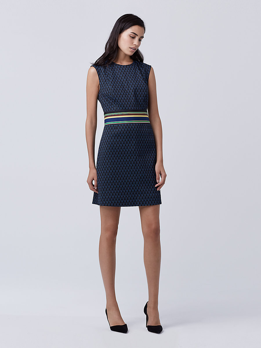 DVF Madyson A-line Dress in Neptune Blue/ Black by DVF