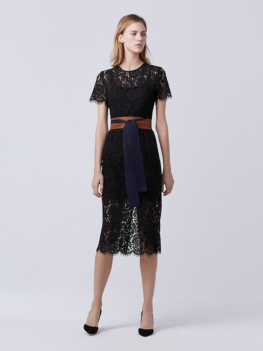 DVF Carly Lace Midi Dress in Black by DVF