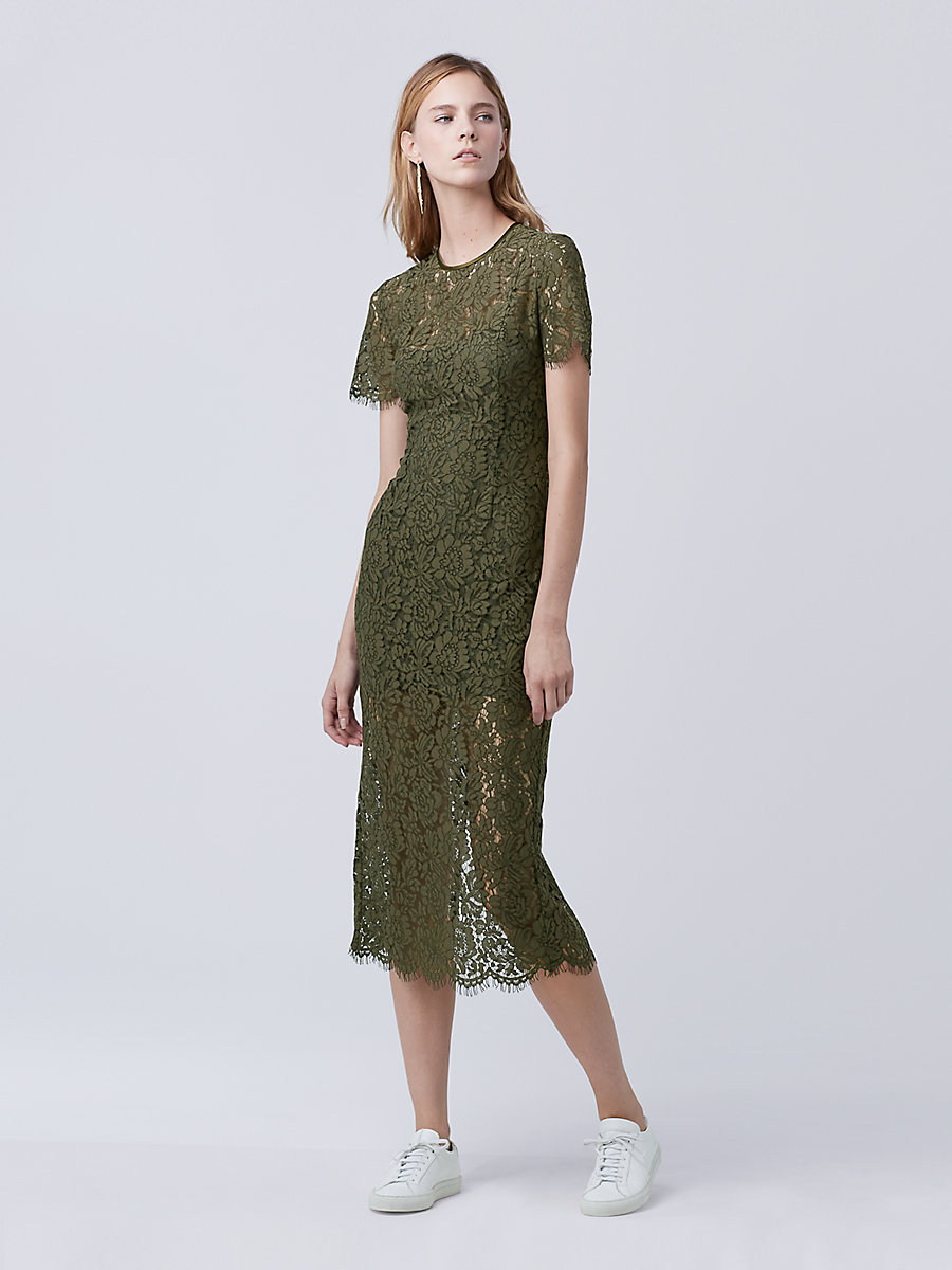 DVF Carly Lace Midi Dress in Olive by DVF