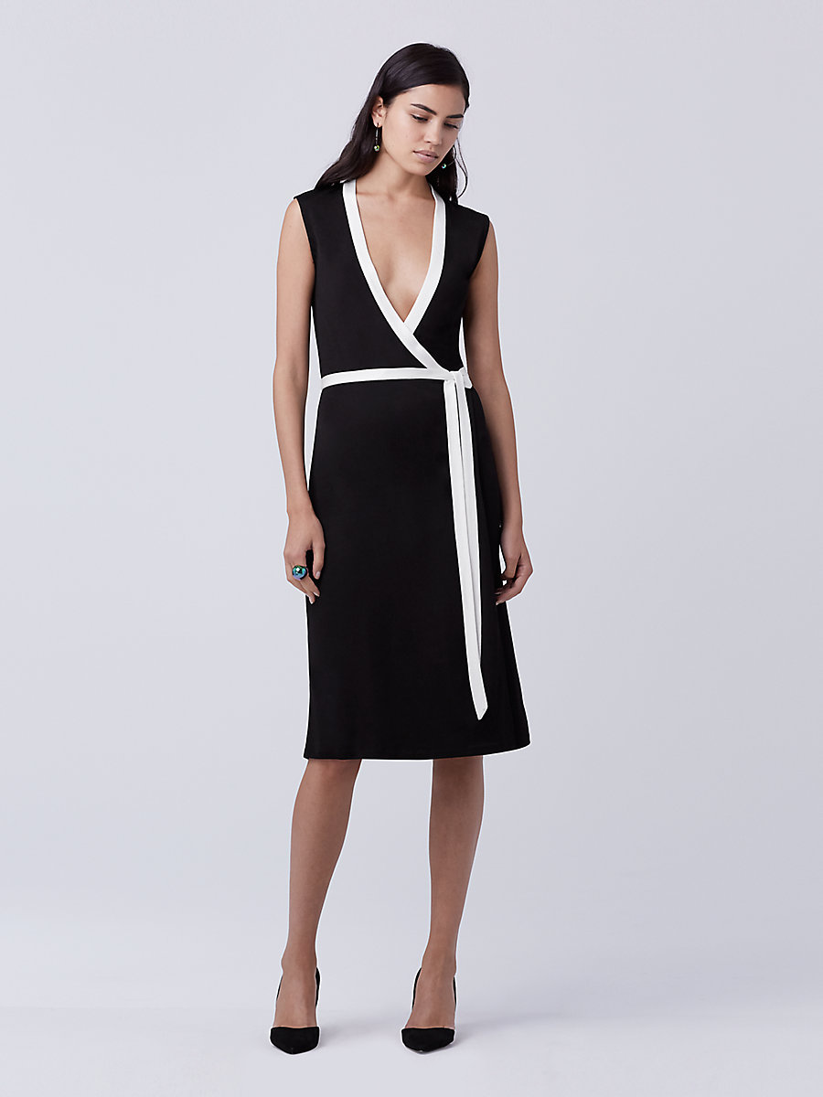 DVF Valena Wrap Dress in Black/ Ivory by DVF