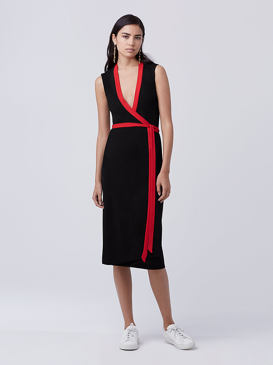 DVF Valena Wrap Dress in Black/scandal Red by DVF