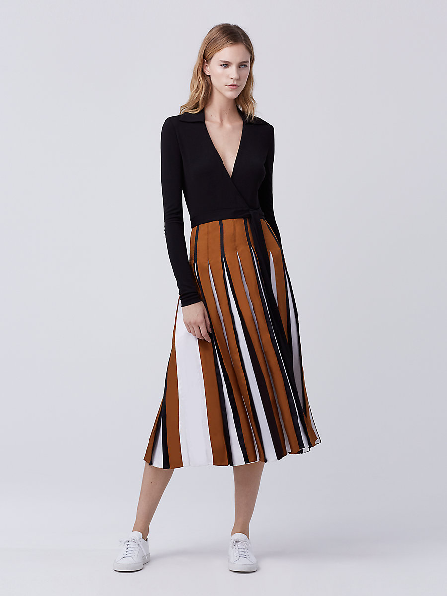 DVF Stevie Two Pleated Wrap Dress in Black/copper/ivory by DVF