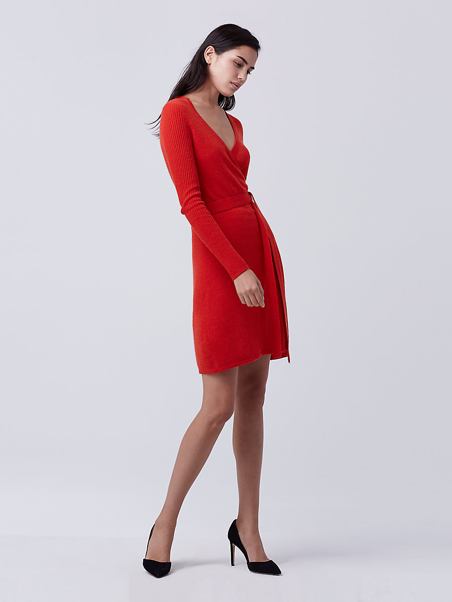 DVF Kerry Sweater Wrap Dress in Scandal Red by DVF
