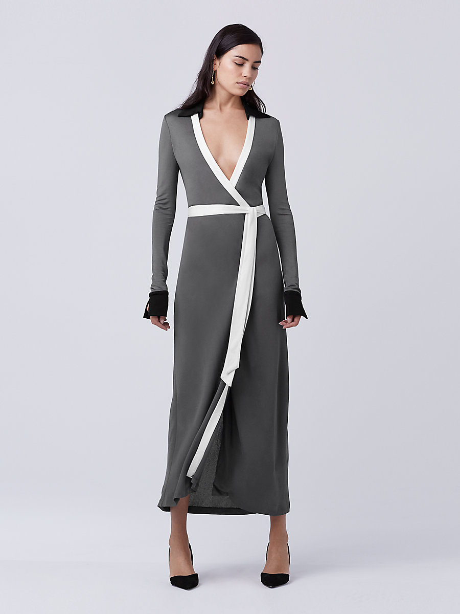 DVF Cybil Two Wrap Dress in Black/rock/ivory by DVF