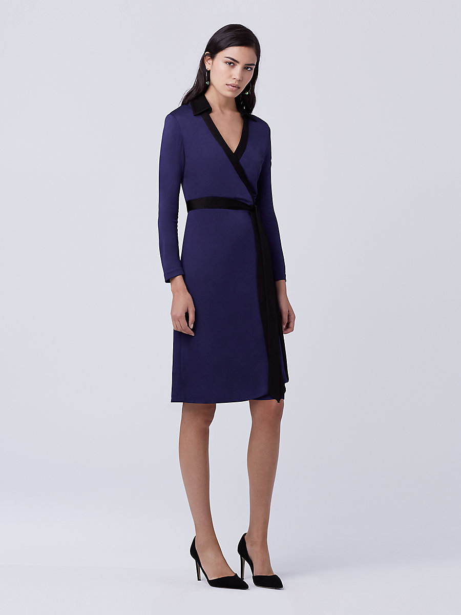 DVF Jeannae Wrap Dress in Azurite Blue/black by DVF