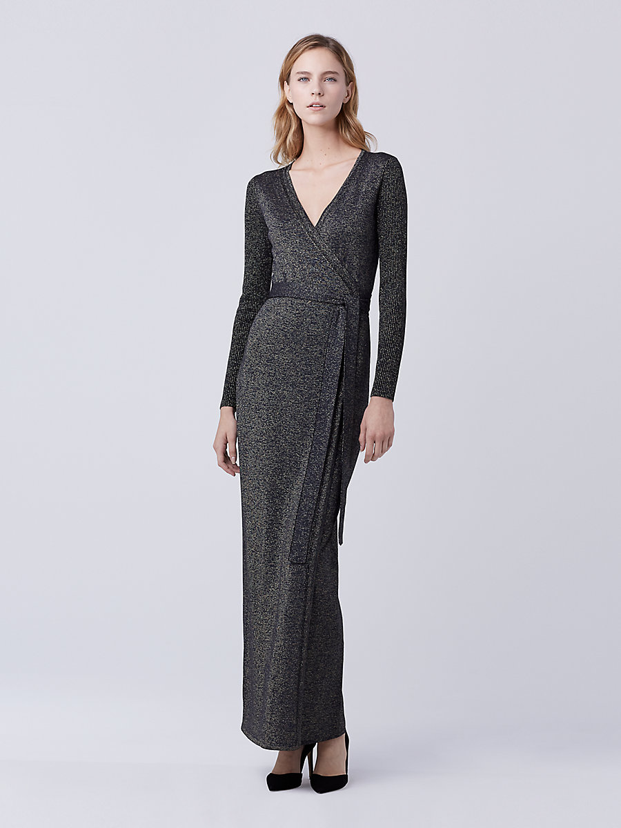 DVF Evelyn Maxi Knit Wrap Dress in Navy/gold by DVF