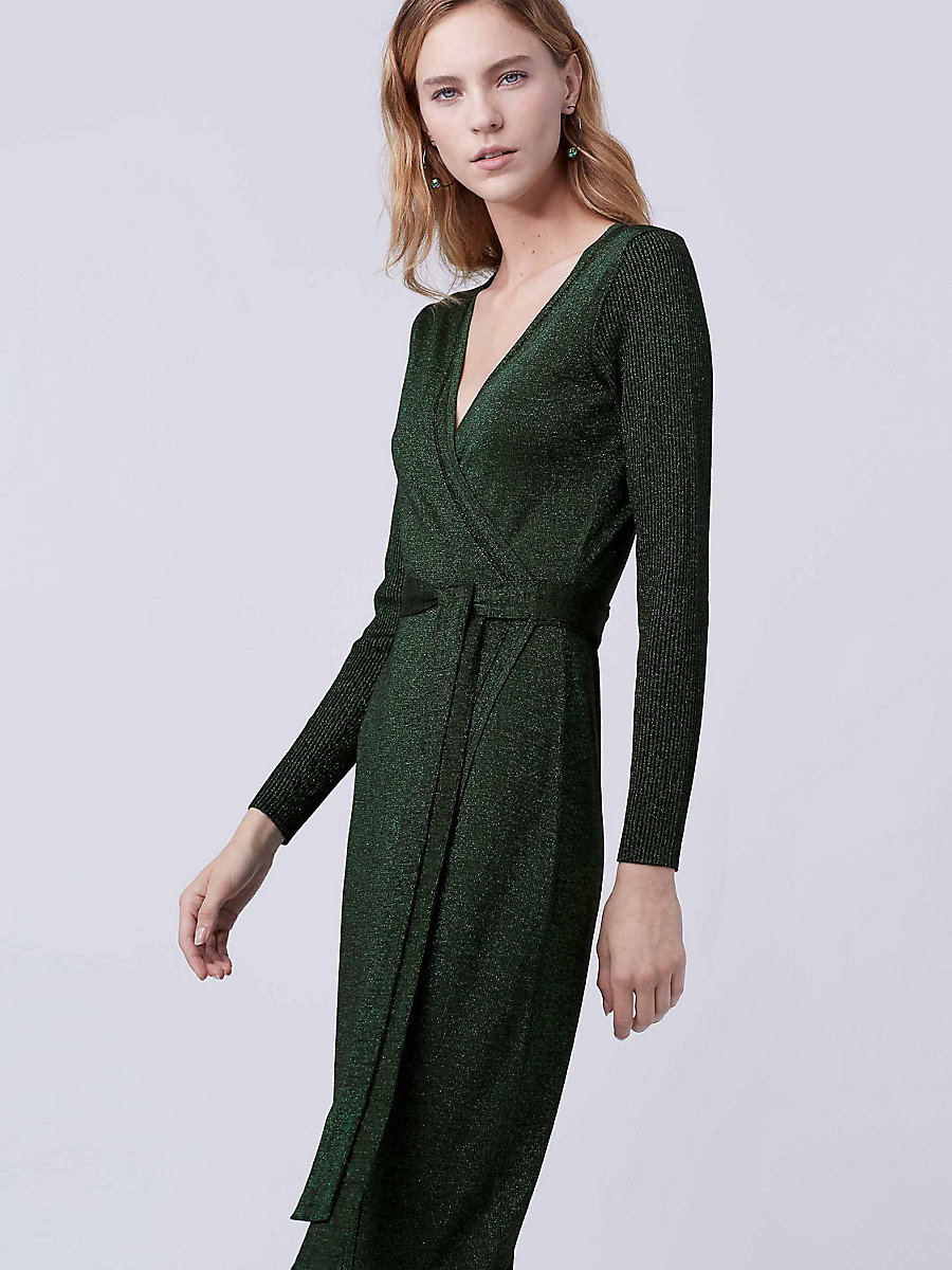 DVF Evelyn Maxi Knit Wrap Dress in Black/green by DVF