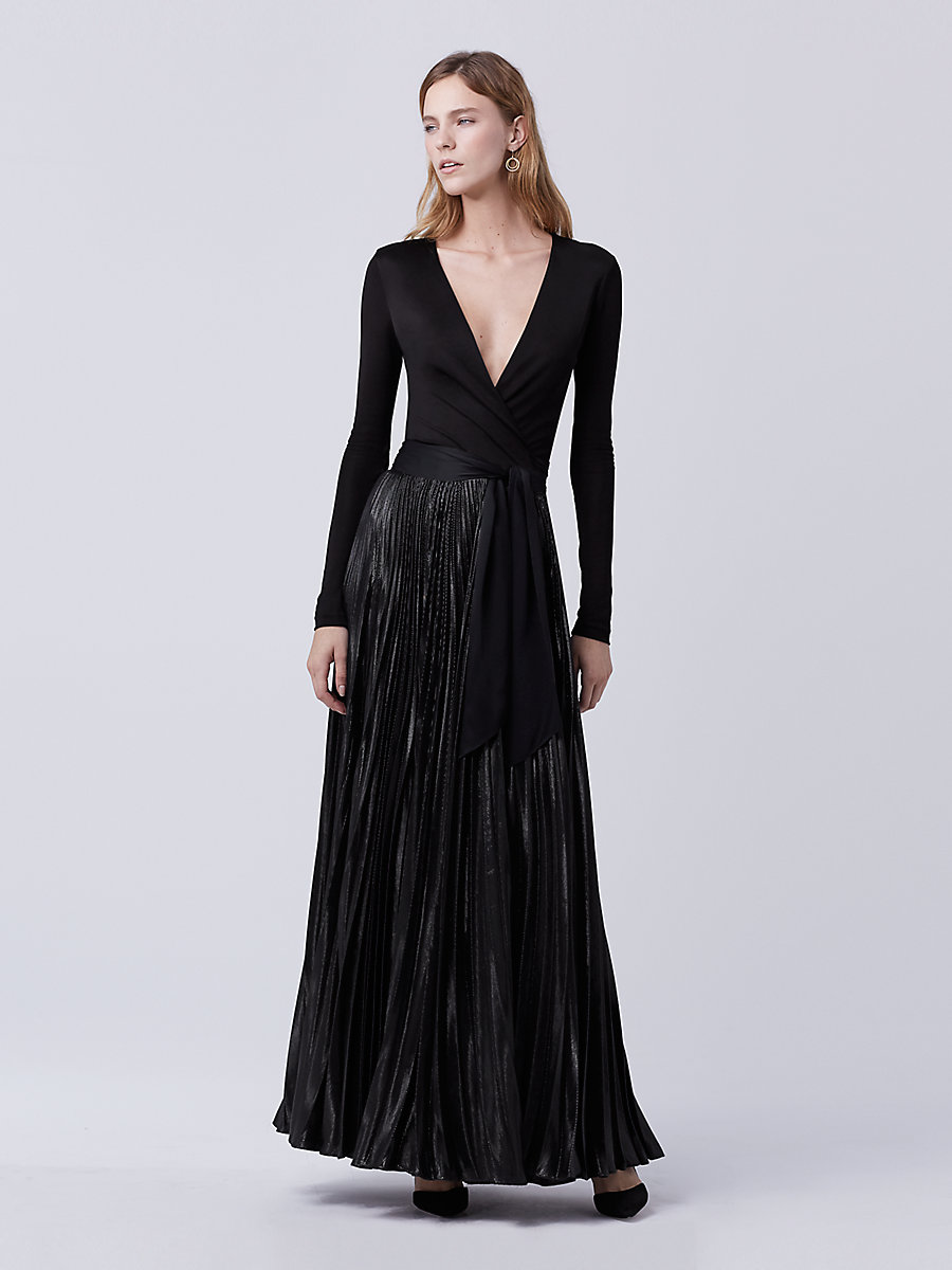 DVF Heavyn Wrap Gown in Black by DVF