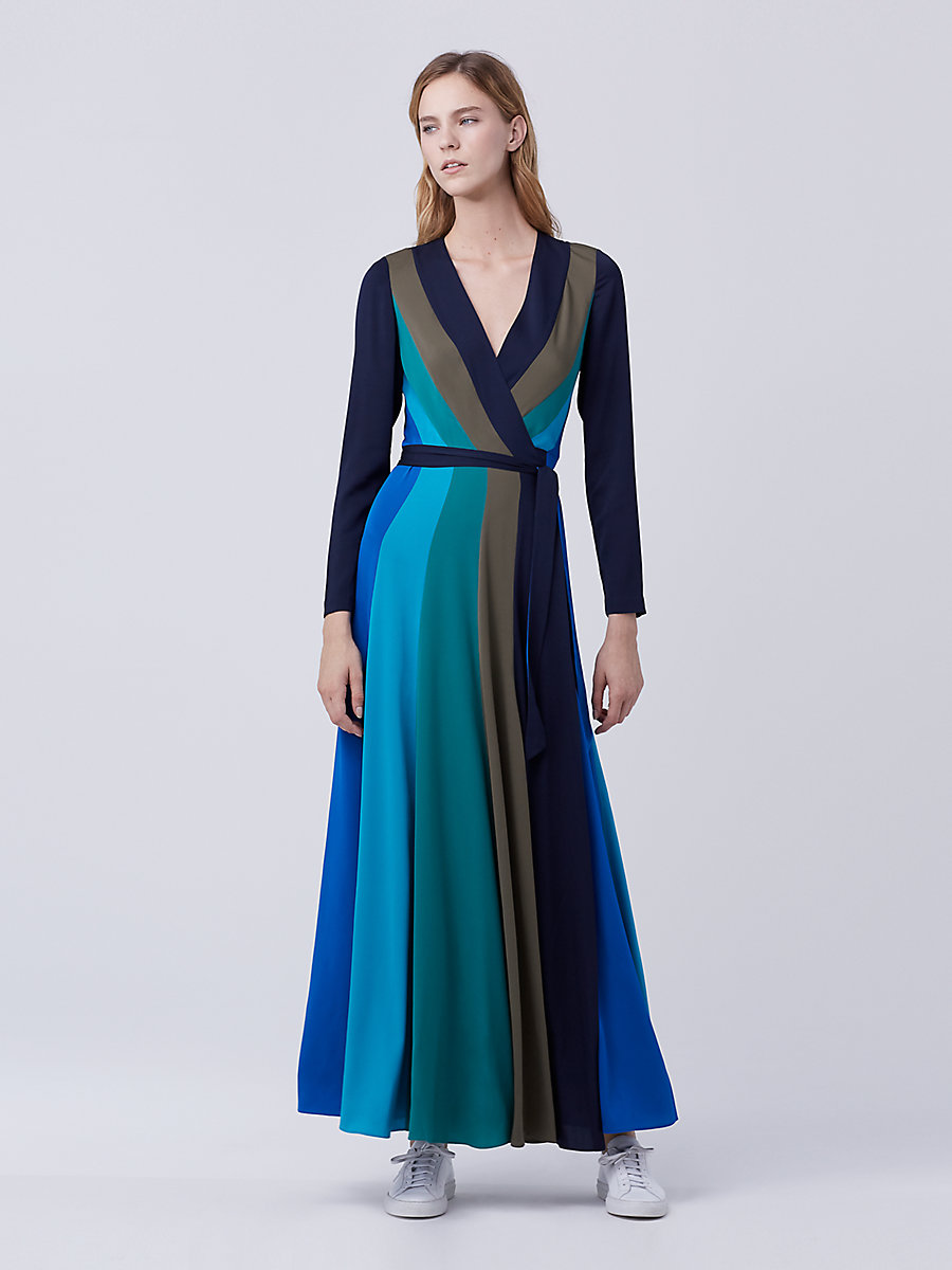 DVF Penelope Maxi Wrap Dress in Deep Night/ Olive/ Sea Green by DVF