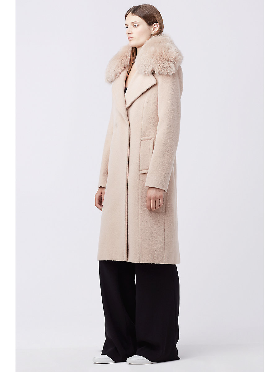 Sutton Wool Coat in Dusty Rose by DVF