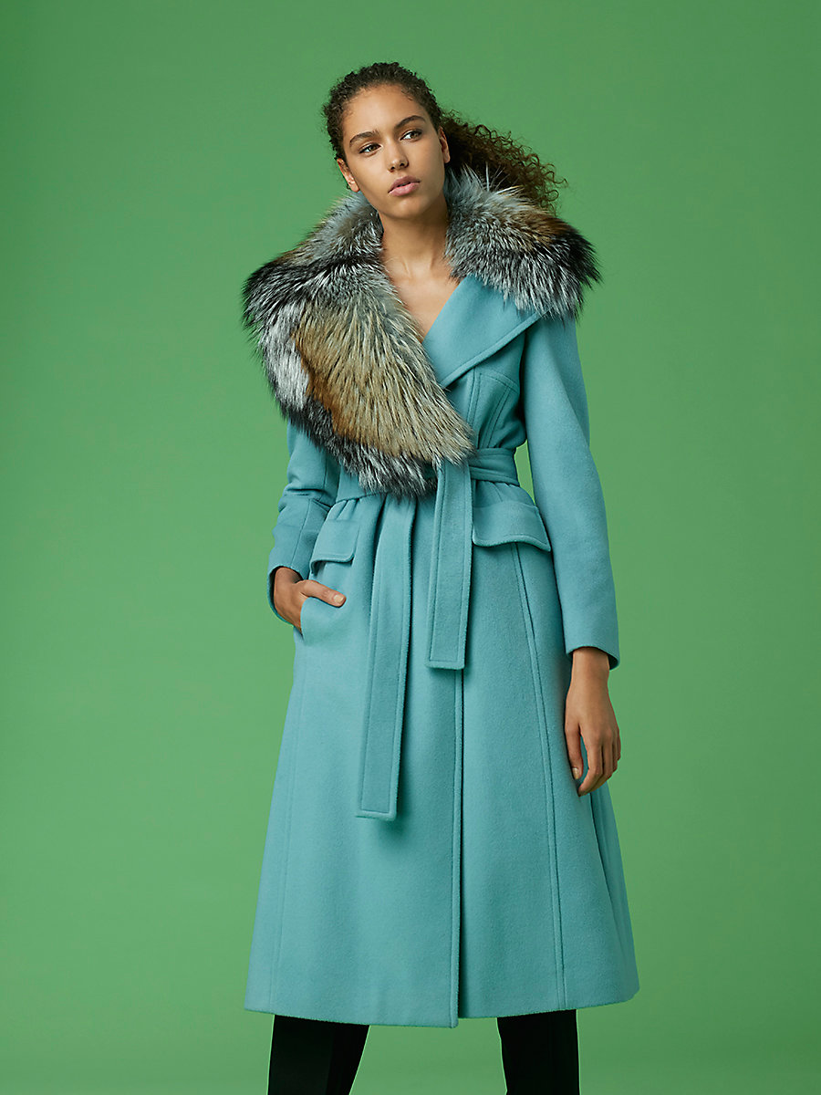 Tie-Front Wool Coat With Fur Collar in Light Blue by DVF