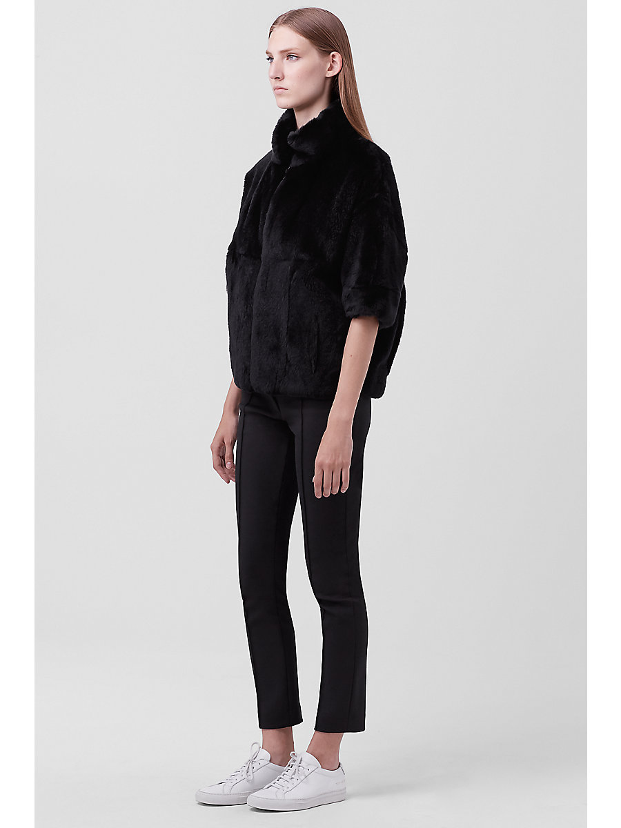 Terry Evening Fur Jacket in Black by DVF