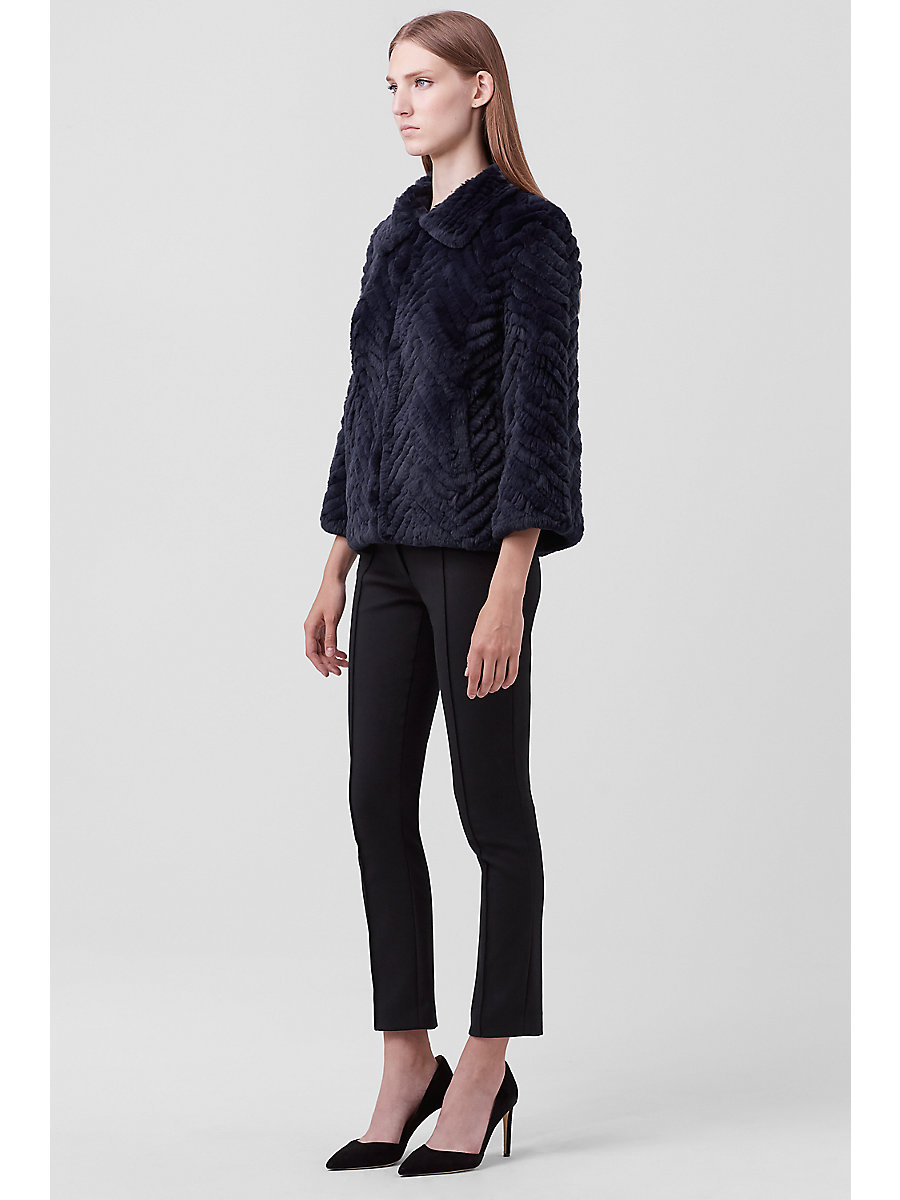 Martina Fur Jacket in Navy by DVF