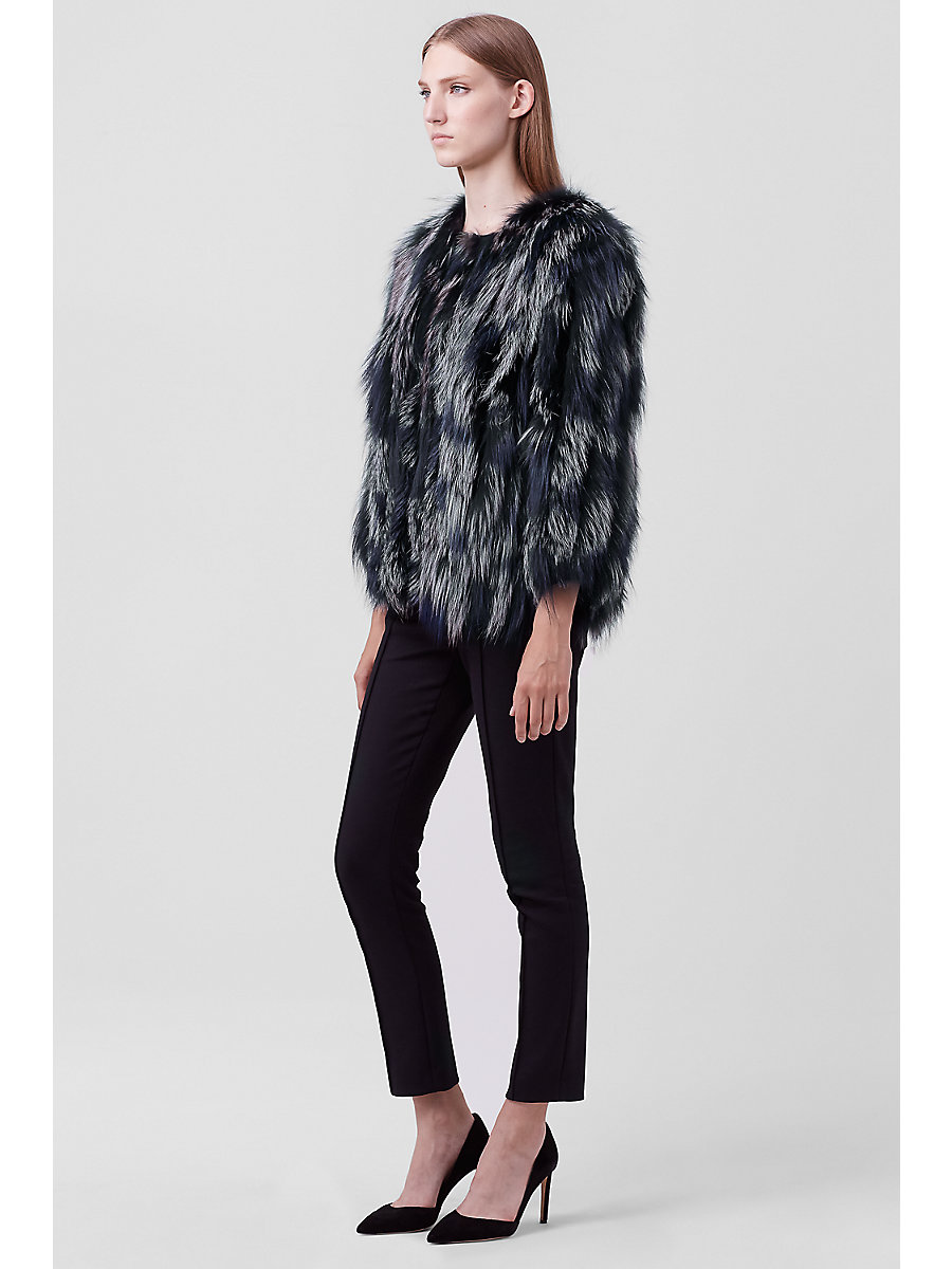 Meryl Fur Jacket in Black/blue by DVF