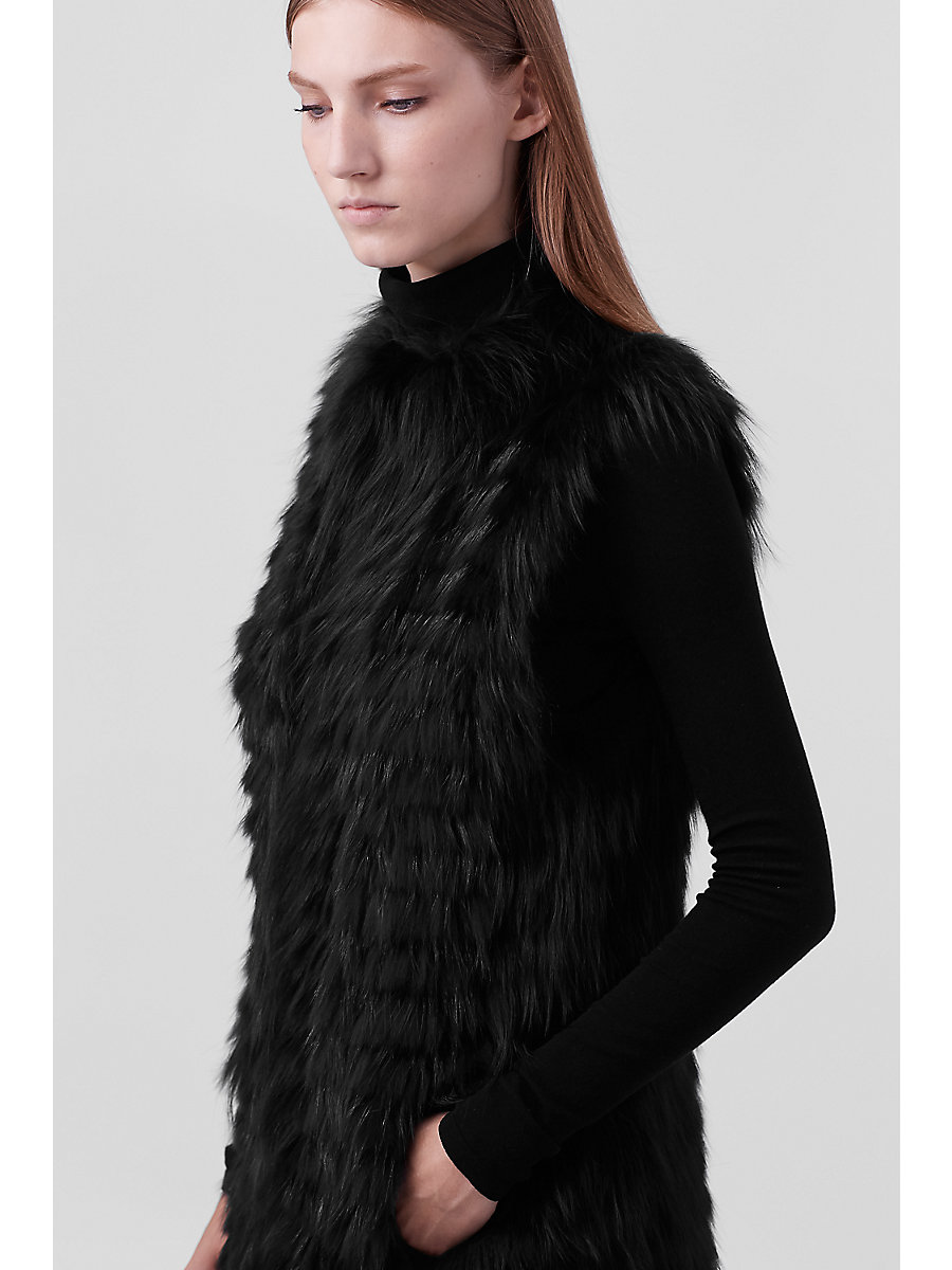 Taryn Fur Vest in Black by DVF