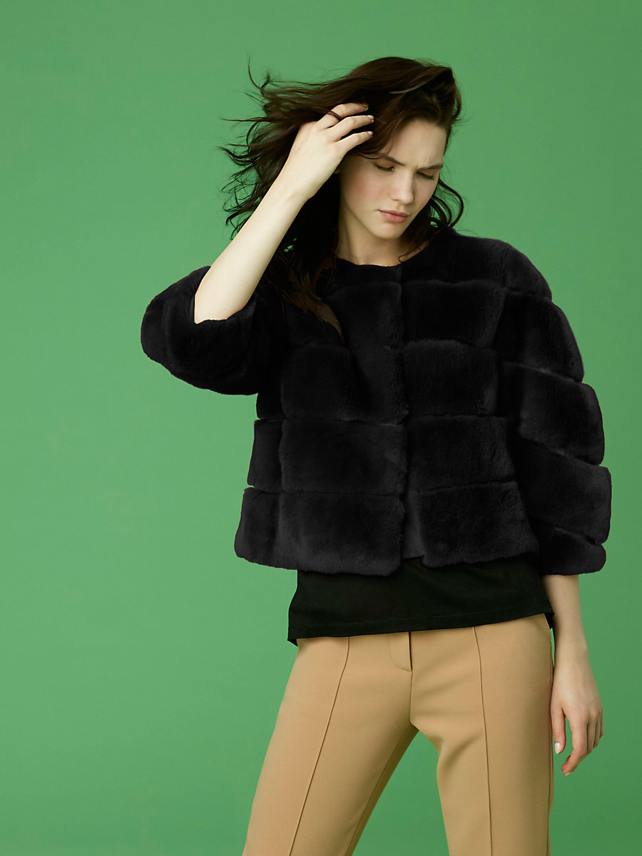 Cropped Paneled Fur Jacket in Black by DVF