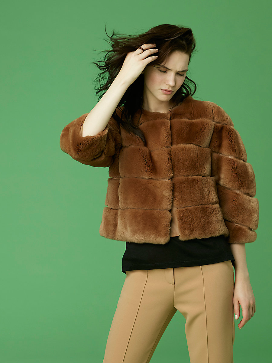Cropped Paneled Fur Jacket in Camel by DVF