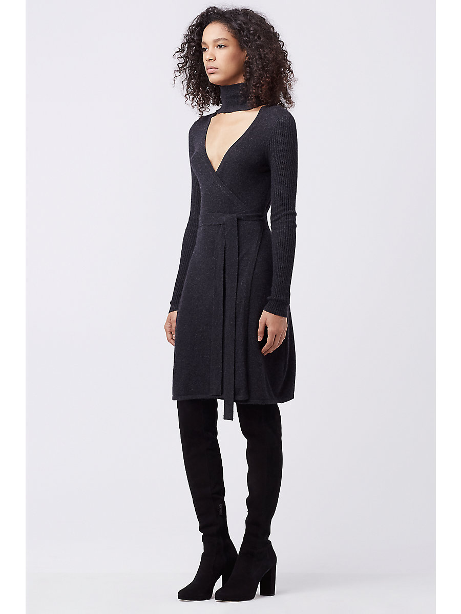 DVF JANEVA CUT-OUT TURTLE NECK WRAP DRESS in Charcoal by DVF