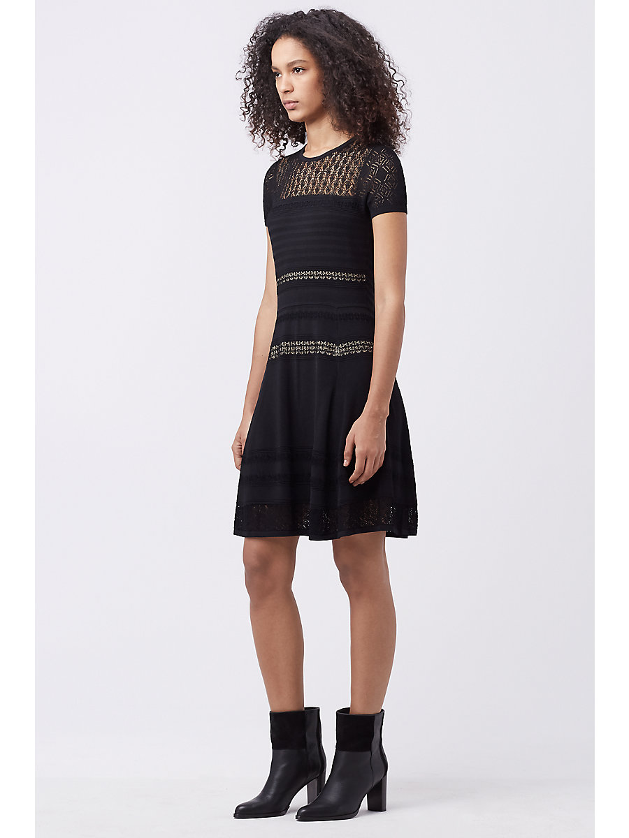 DVF CELINA FITTED KNIT DRESS in Black by DVF