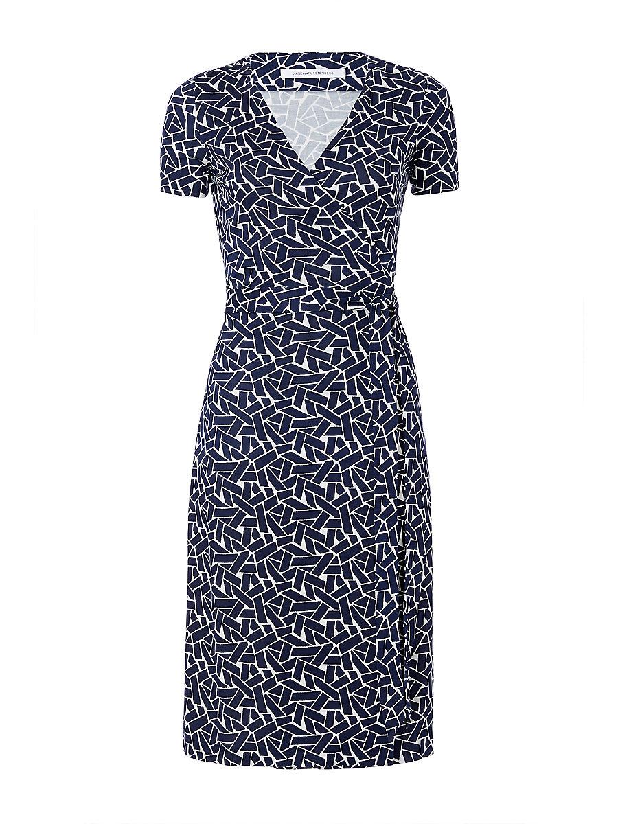 New Julian Two Short Sleeve Silk Jersey Wrap Dress in Ribbon Weave Mini by DVF