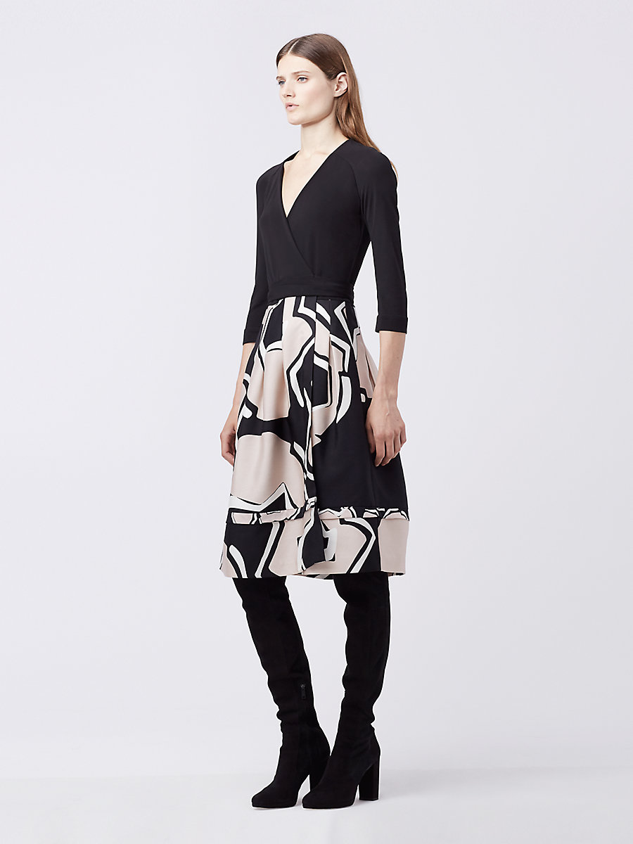 DVF New Jewel Wrap Dress in Black/ Pommeau Grande Black by DVF