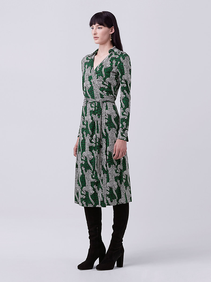 DVF Cybil Midi Wrap Dress in Climbing Leopard Green Envy by DVF
