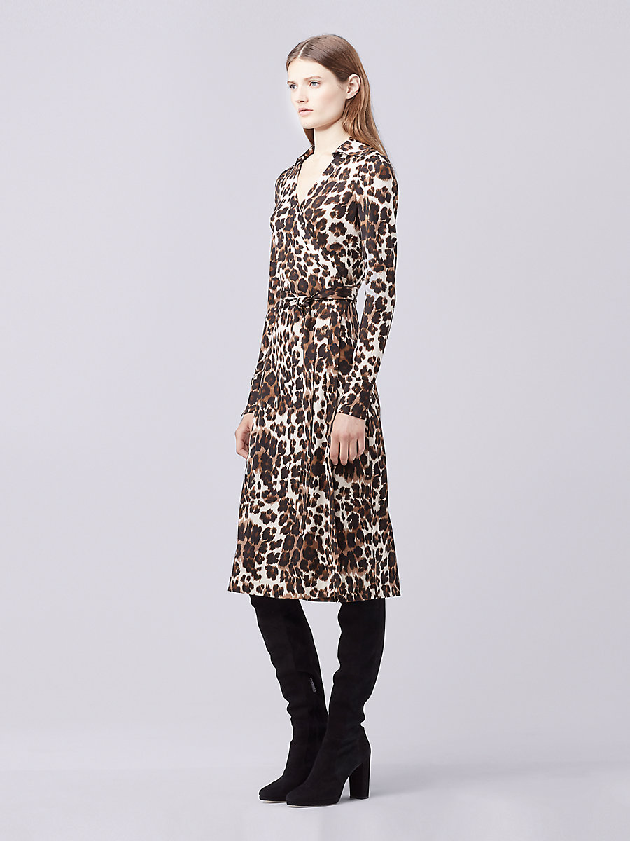 DVF Cybil Midi Wrap Dress in Snow Cheetah Large Natural by DVF
