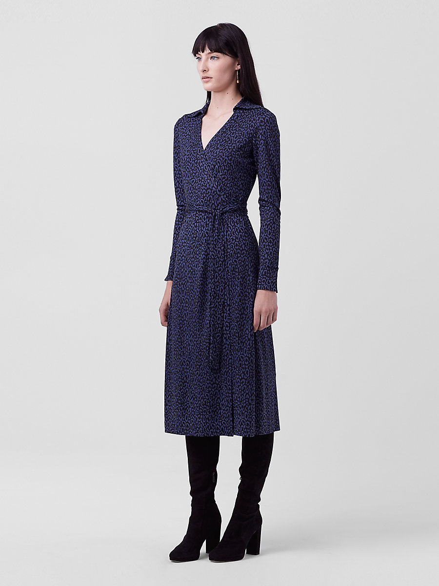 DVF Cybil Midi Wrap Dress in Spotted Cat Mini Indigo by DVF