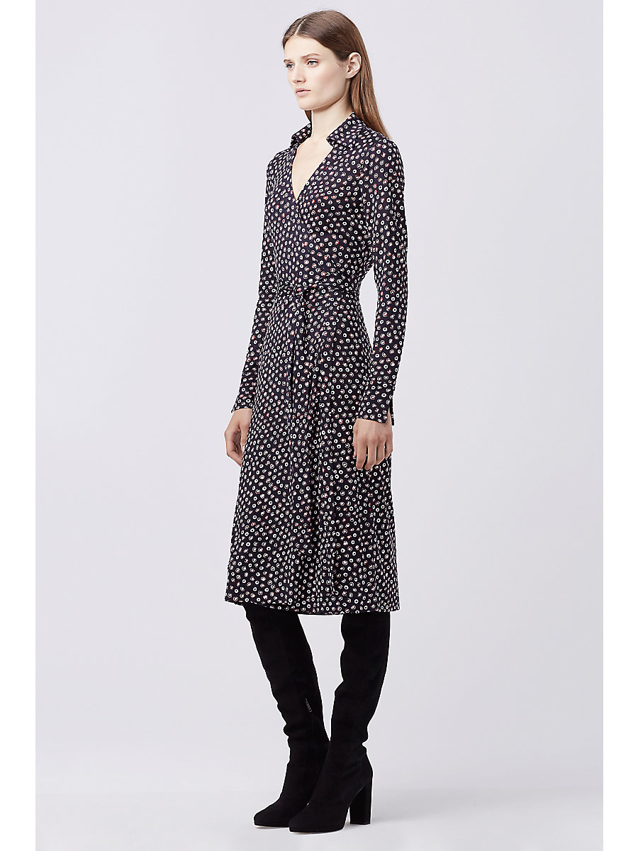 DVF CYBIL SILK JERSEY MIDI WRAP DRESS in Pirouette Dot Navy by DVF