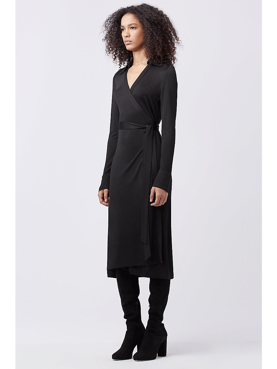 DVF CYBIL WRAP DRESS in Black by DVF