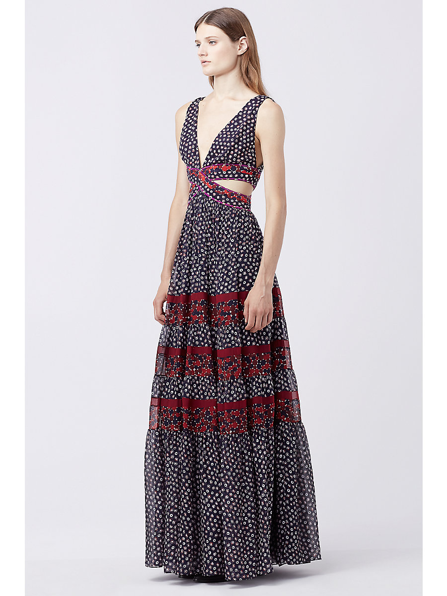 DVF ALTESSA CUT-OUT DRESS in Pirouette Dot N/ Montage M R/g by DVF