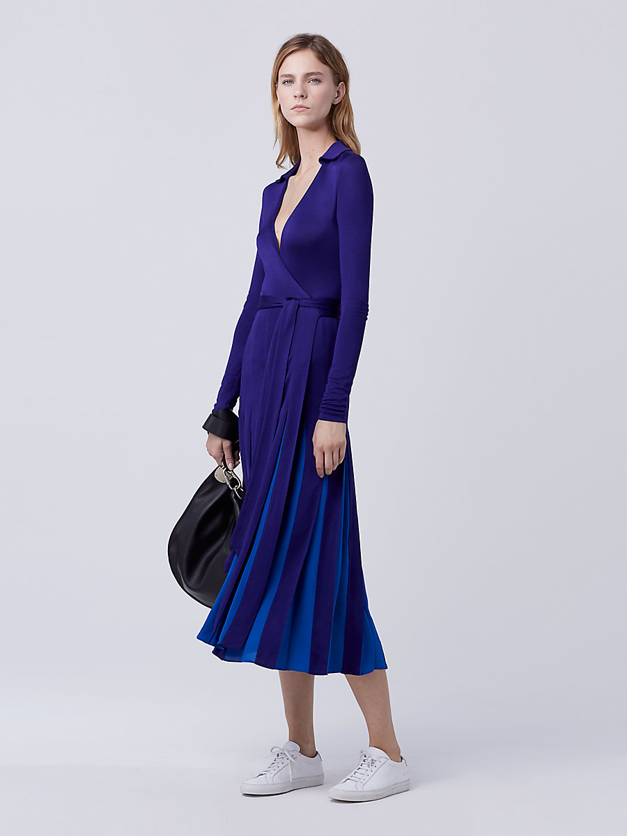 DVF Stevie Pleated Wrap Dress in Azurite Blue/neptune Blue by DVF