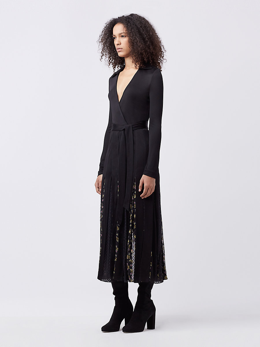 DVF STEVIE WRAP DRESS in Black/ Tendu Black by DVF