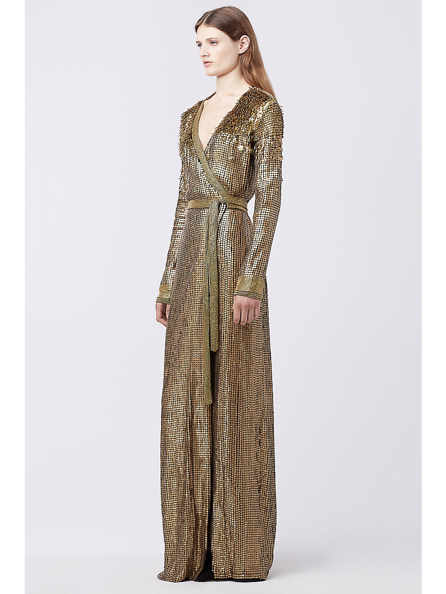 DVF ARIEL ARMOUR WRAP GOWN in Gold/gold by DVF