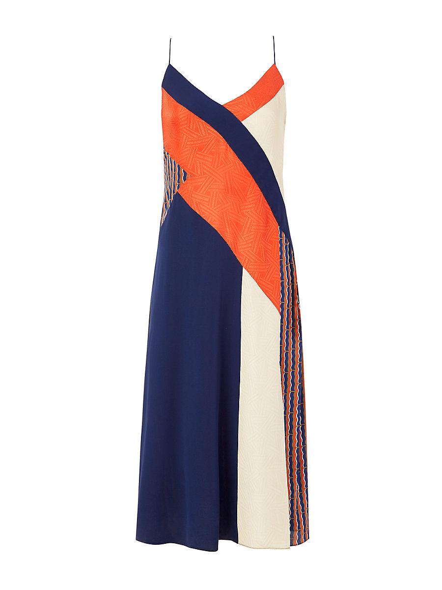 DVF Frederica Colorblock Slip Dress in Rickrack Khaki/ Orange/ Tan by DVF