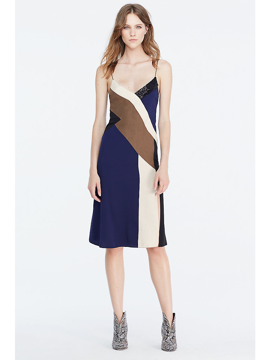 DVF Frederica Embellished Colorblock Slip Dress in Tan/ Midnight/ Khaki Brown by DVF
