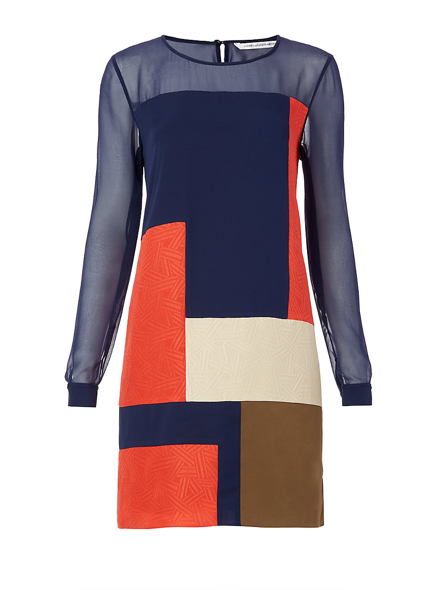 DVF Raegan Colorblock Silk Dress in Orange/ Midnight/ Khaki Brown by DVF