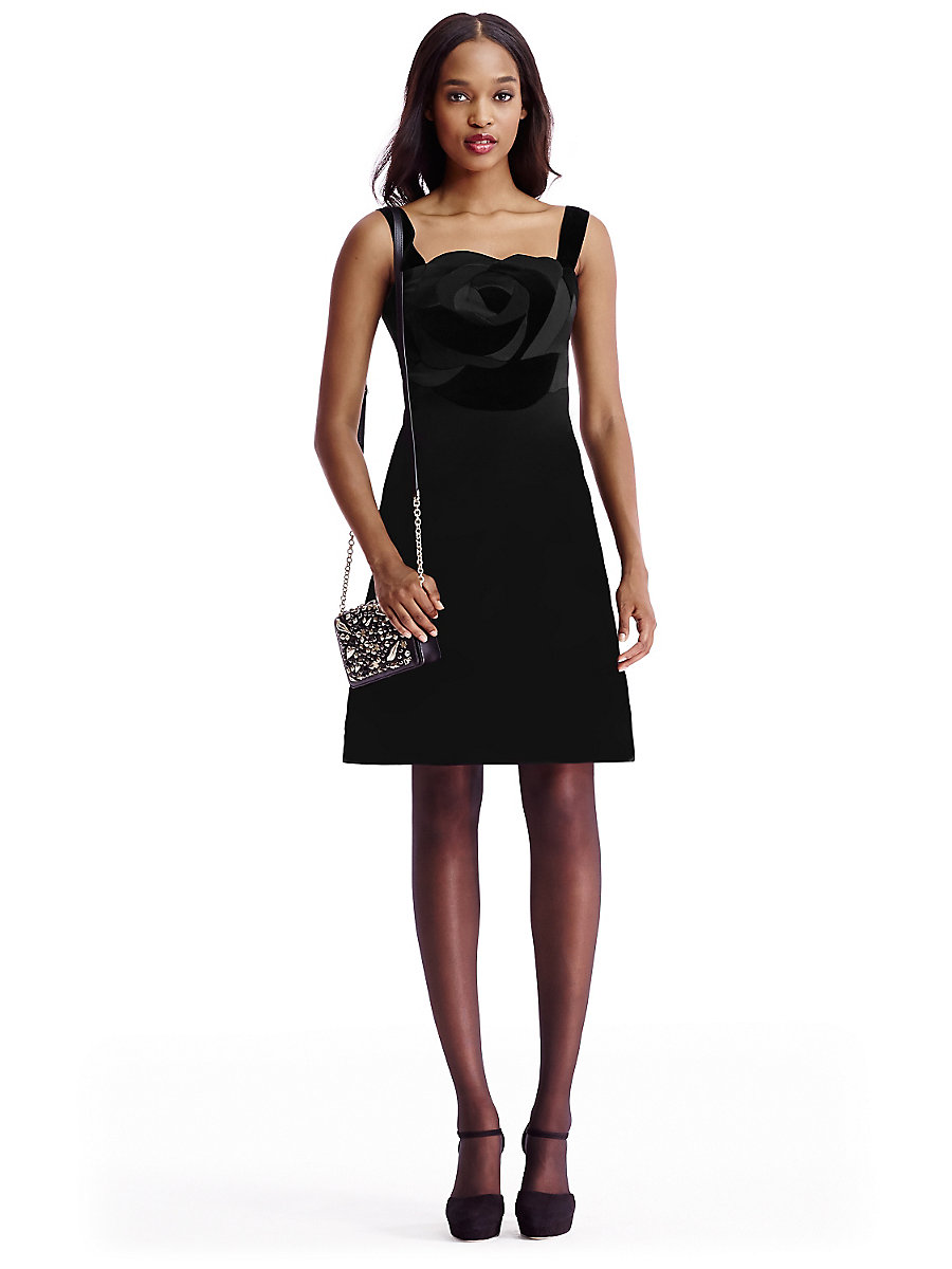 DVF Darling Satin and Velvet Combo A-Line Dress in Black by DVF