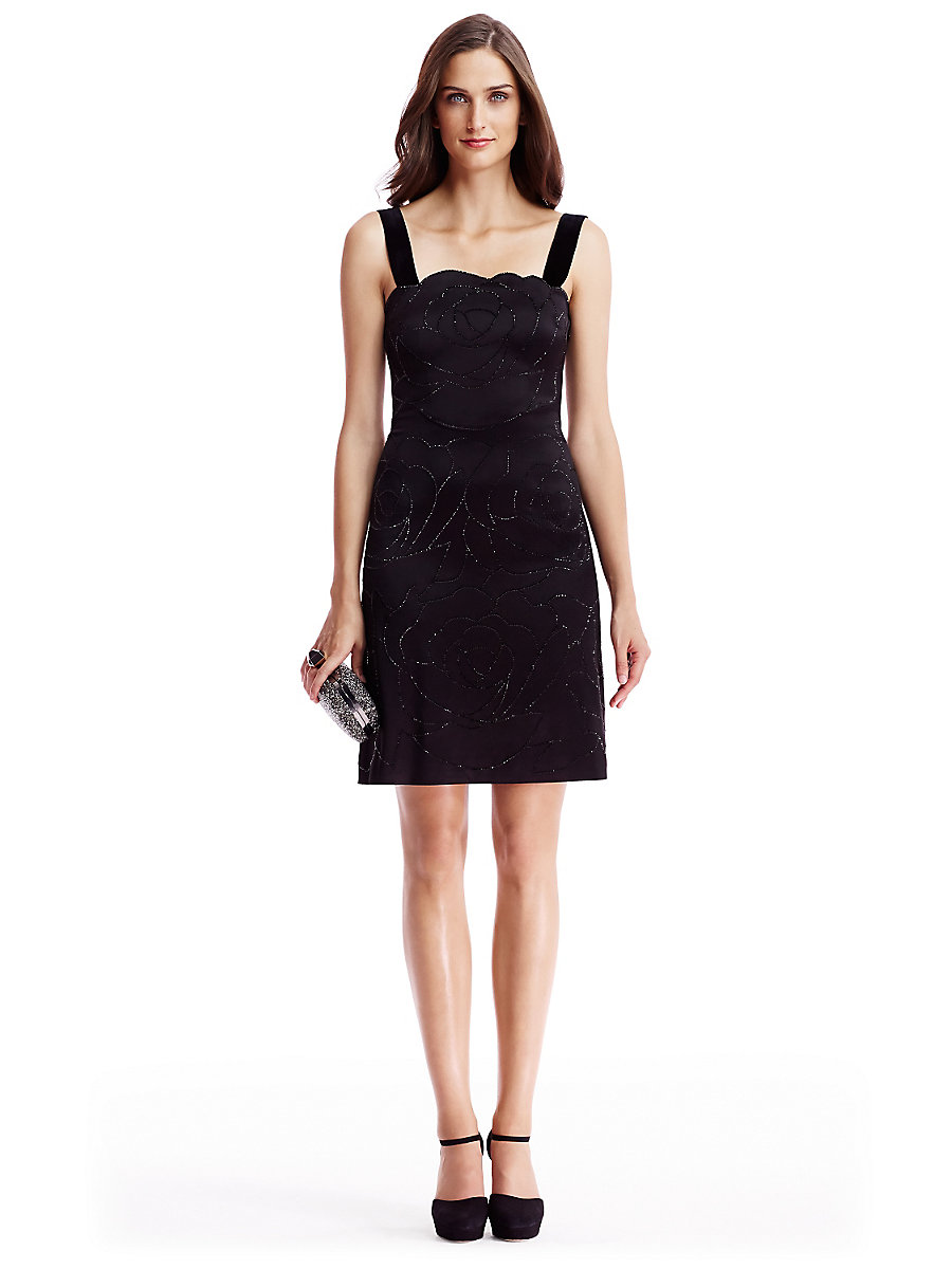 DVF Lovelle Embellished Satin A-Line Dress in Black by DVF
