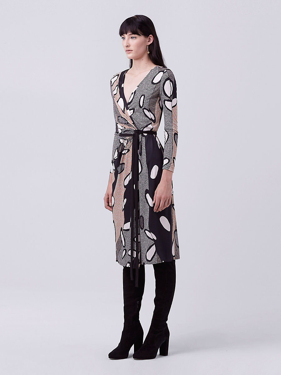 DVF Elizabel Wrap Dress in Avant-garde Black/ Black by DVF