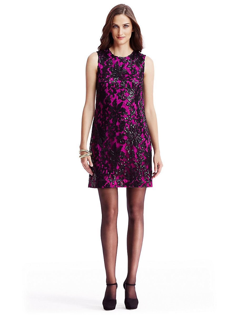 DVF Kaleb Embellished Lace Shift Dress in Black/ Hot Orchid by DVF