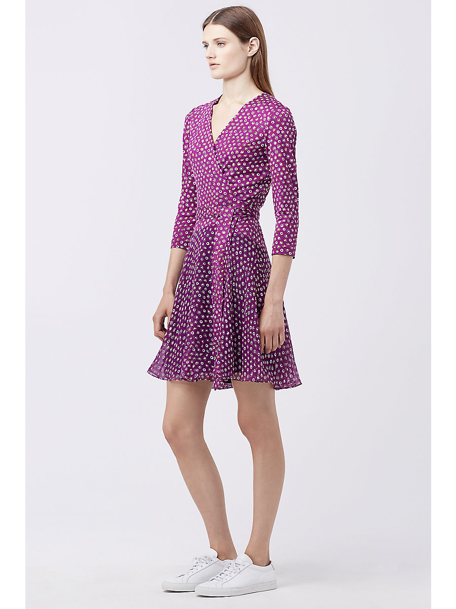 DVF NEW IRINA COMBO WRAP DRESS in Pirouette Dot Amethyst by DVF