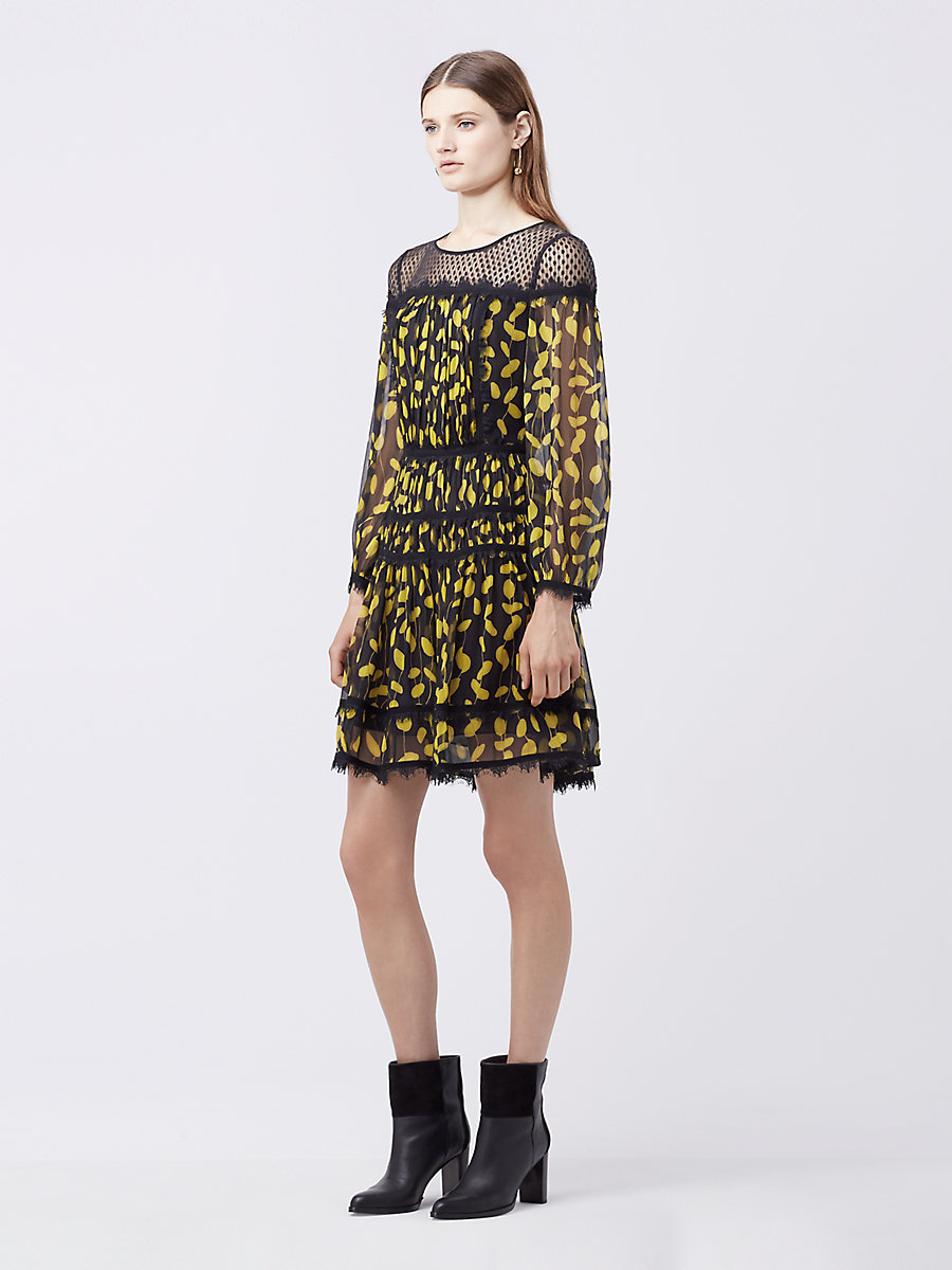 DVF Jamie A-Line Dress in Glissade Citronelle/ Black by DVF