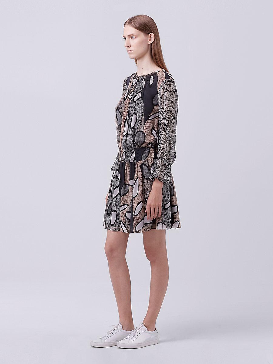 DVF Kelley Chiffon Dress in Avant-garde C/grand Armat Bl by DVF