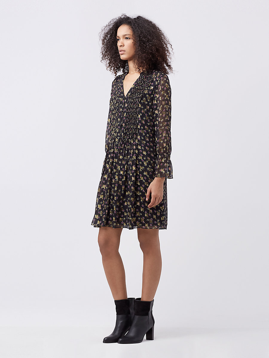 DVF Kourtni Chiffon Dress in Tendu Black by DVF