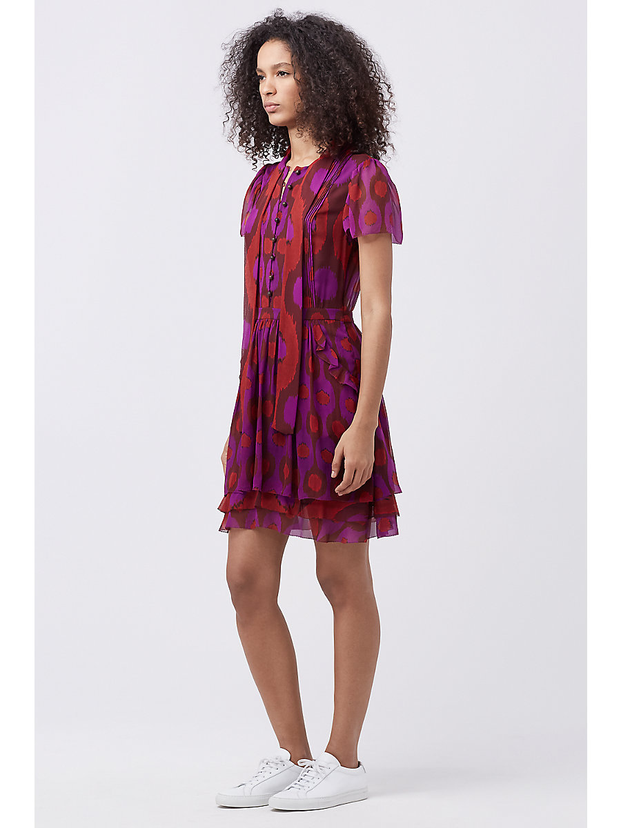 DVF MARISA CHIFFON DRESS in Parry Petite Amethyst/parry Ru by DVF