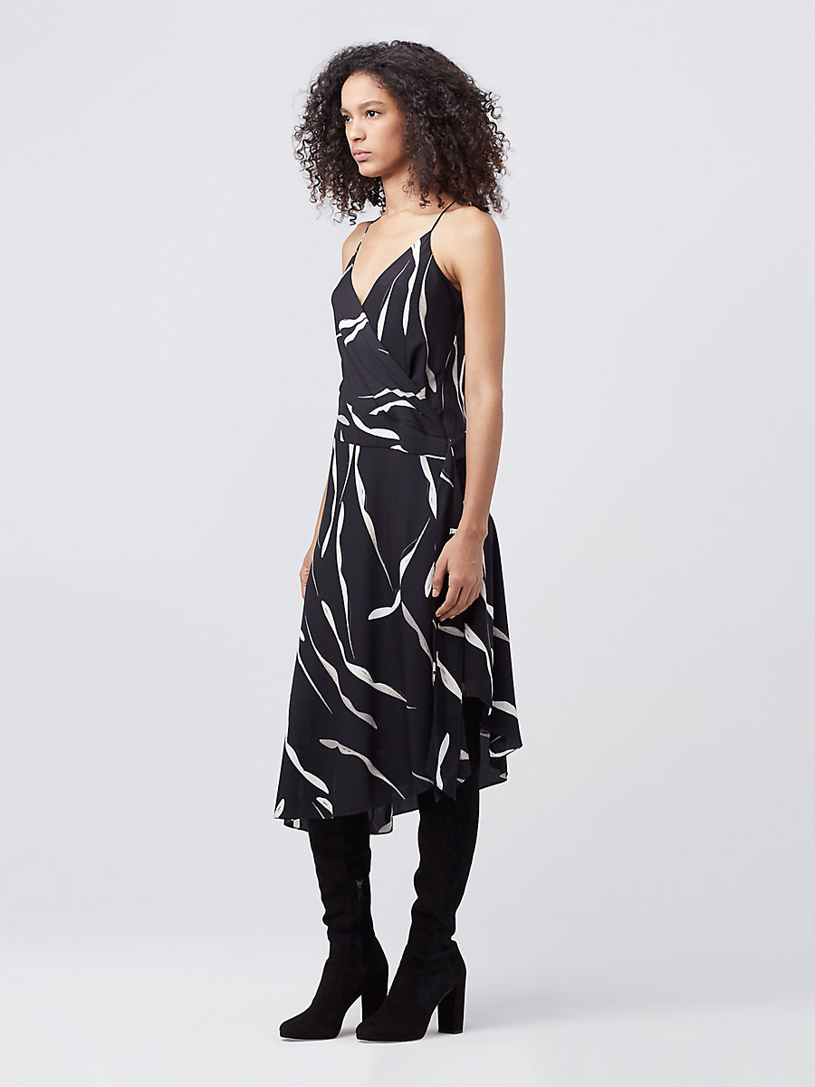 DVF BRENNDAH SLIP DRESS in Gesture Black by DVF