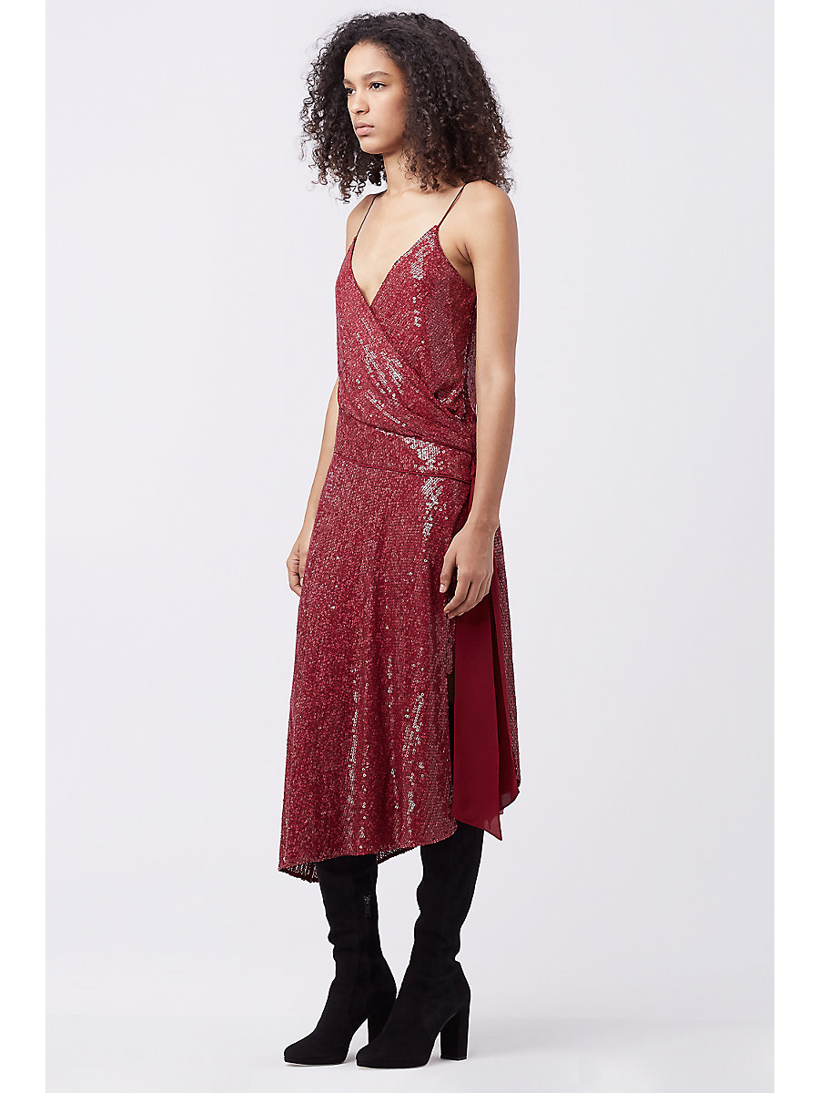 DVF BRENNDAH EMBELLISHED SLIP DRESS in Garnet by DVF