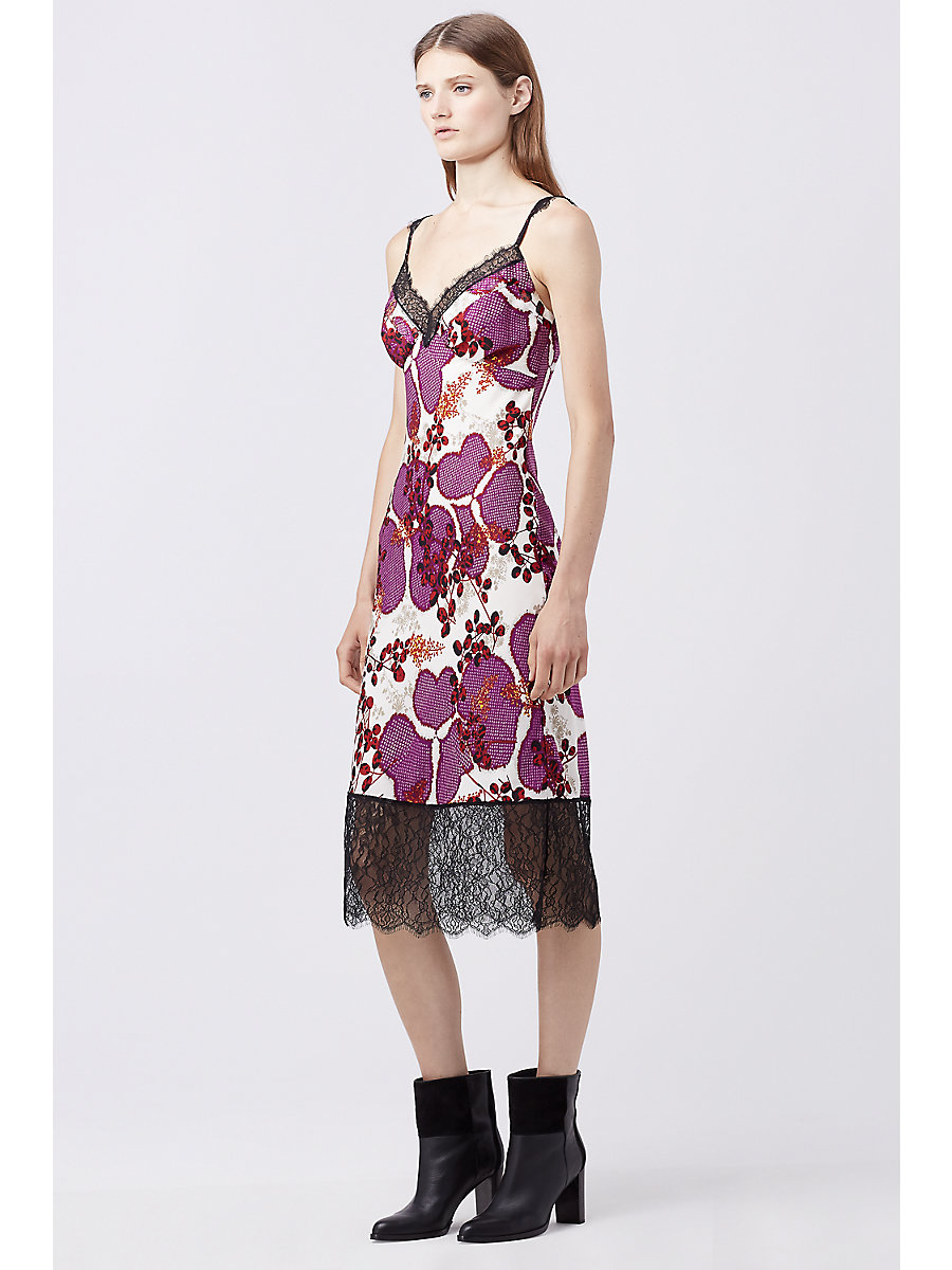 DVF MARGARIT SILK SLIP DRESS in Impromptu Amethyst/ Black by DVF