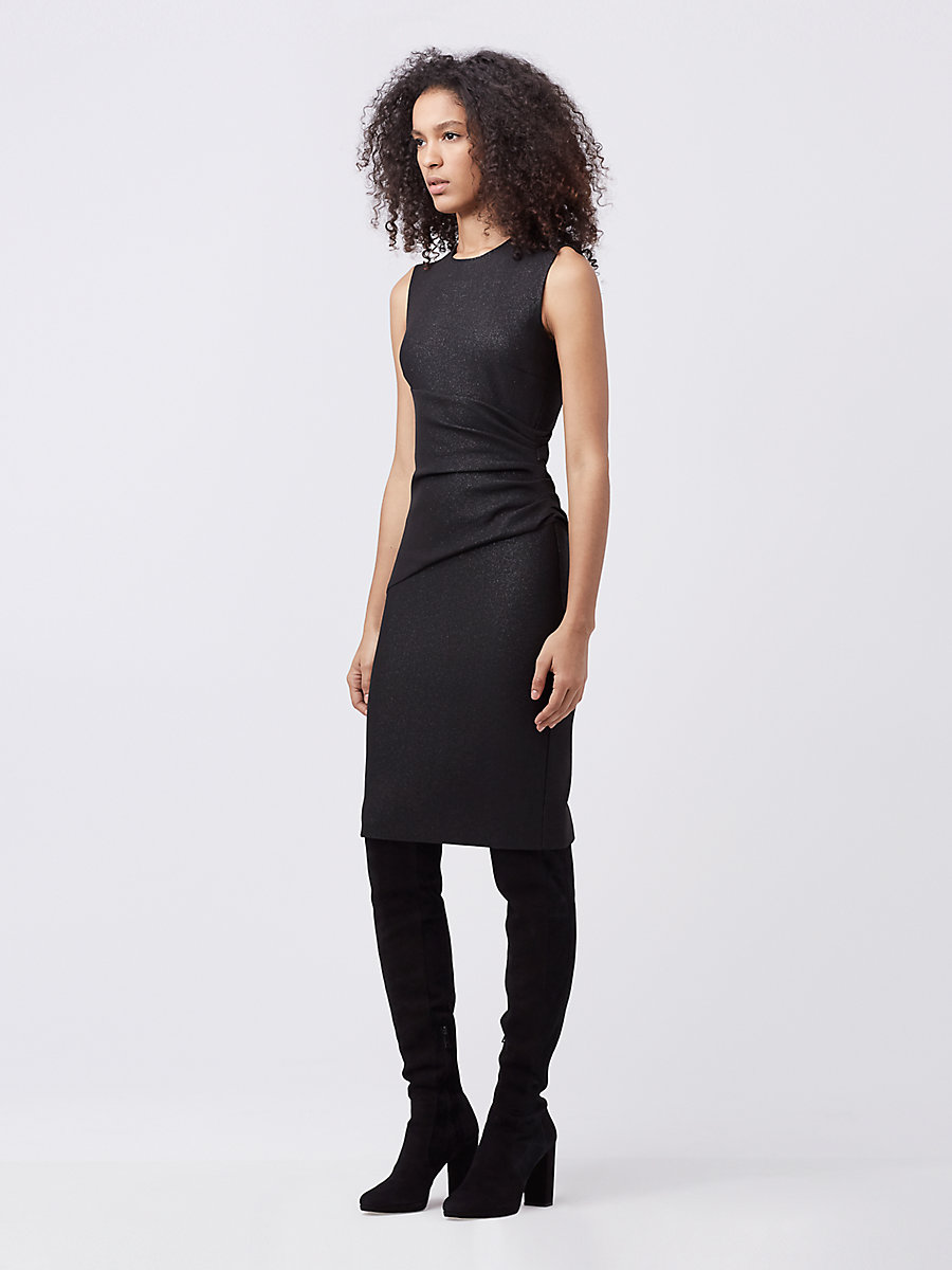 DVF Glennie Fitted Dress in Metallic Black by DVF